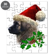 3 Leonberger with Christmas Hat and Ivy No  Puzzle