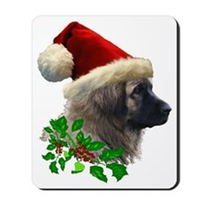 2 Leonberger with Christmas Hat and Ivy  Mousepad