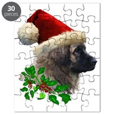 2 Leonberger with Christmas Hat and Ivy No  Puzzle