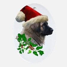 1 Leonberger with Christmas Hat and  Oval Ornament