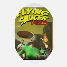 Flying Saucer Tales Fake Pulp Cover Oval Ornament