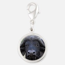 buffalo panel Silver Round Charm