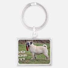 PUG GREETING CARD ANY OCCASION  Landscape Keychain