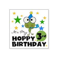 """Frog Hoppy 3rd Birthday Square Sticker 3"""" x 3"""""""