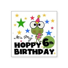 "Frog Hoppy 6th Birthday Square Sticker 3"" x 3"""