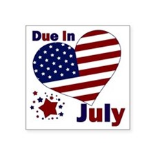 """DUE IN JULY Square Sticker 3"""" x 3"""""""