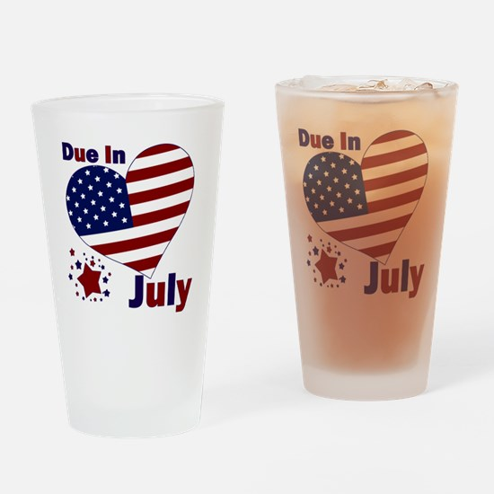 DUE IN JULY Drinking Glass