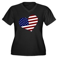 usa heart Women's Plus Size Dark V-Neck T-Shirt