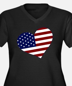 usa heart Women's Plus Size Dark V-Neck T-Shirt