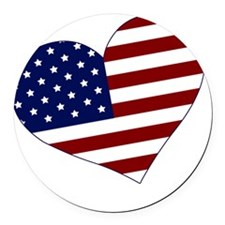 usa heart Round Car Magnet