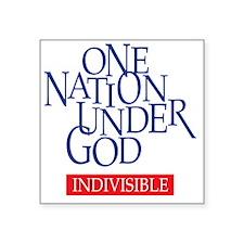 "One Nation Under God Square Sticker 3"" x 3"""