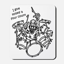 Four counting drummer black Mousepad