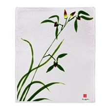 Chinese Orchid Throw Blanket