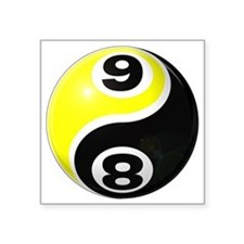 "8 Ball 9 Ball Yin Yang Square Sticker 3"" x 3"""