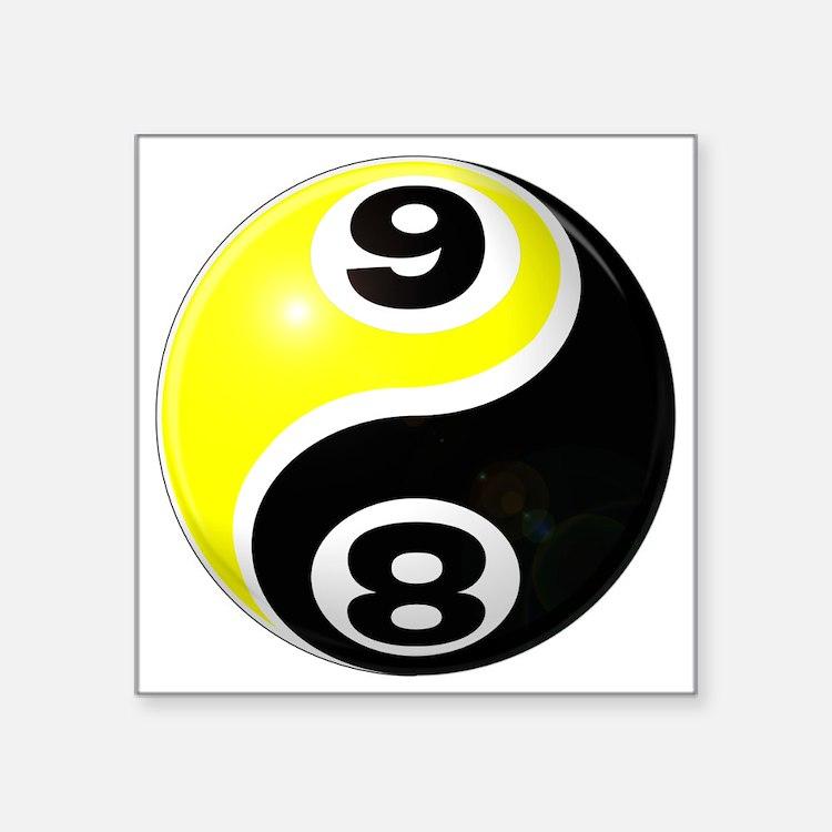 "8 Ball 9 Ball Yin Yang Square Sticker 3"" x 3"""
