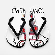 Zombie Nerd WHITE copyrighted Flip Flops