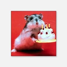 "hamster-birthday Square Sticker 3"" x 3"""