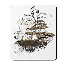 Bonsai Tree - Brown on Dark Mousepad