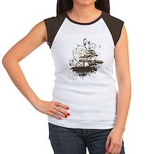 Bonsai Tree - Brown on  Women's Cap Sleeve T-Shirt
