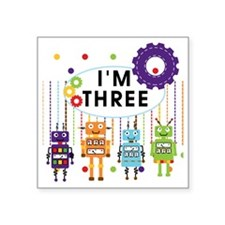 "ROBOTTHREE Square Sticker 3"" x 3"""