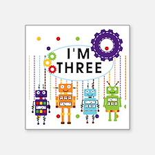 "ROBOTTHREE Square Sticker 3"" x 3"""