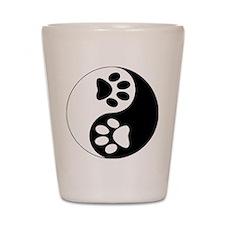 paw yin and yang Shot Glass
