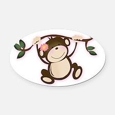 Monkey Play Girl Monkeys Oval Car Magnet