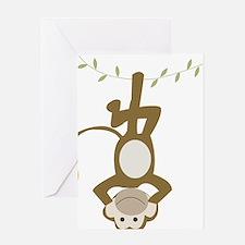 Monkey Around hanging Upside down Greeting Card