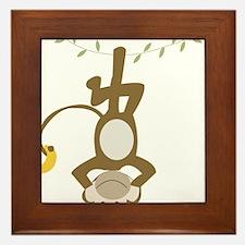 Monkey Around hanging Upside down Framed Tile