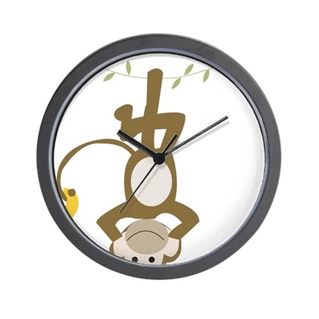 Monkey Around hanging Upside down Wall Clock