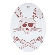 bunnypiratepink Oval Ornament