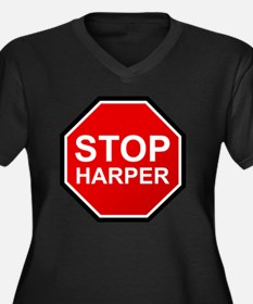 STOP HARPER Women's Plus Size Dark V-Neck T-Shirt