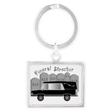 Funeral Director Hearse RIP Landscape Keychain