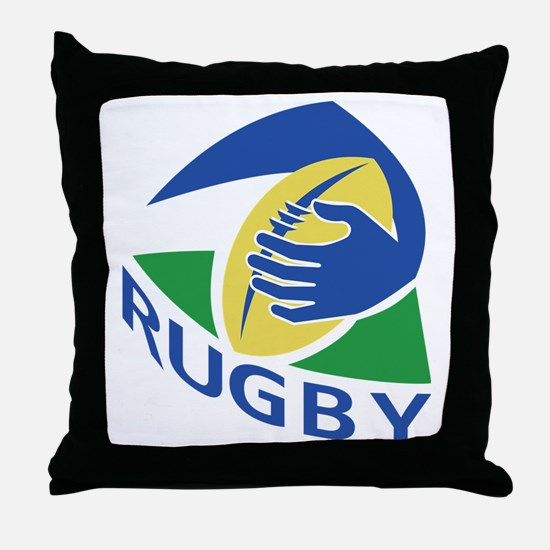rugby ball hand holding Throw Pillow