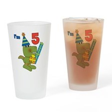 Little Dino 5th Birthday Drinking Glass