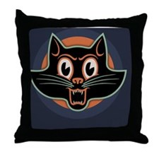blk-cat-face-OV Throw Pillow
