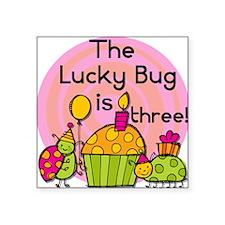 "Lucky Bug 3rd Birthday Square Sticker 3"" x 3"""