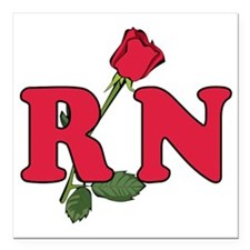 "RN Nurse Rose Square Car Magnet 3"" x 3"""
