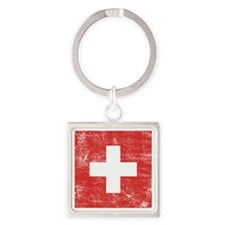 Switzerland Square Keychain