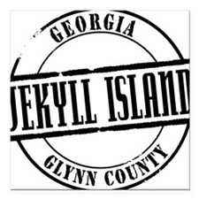 """Jekyll Island Title W Square Car Magnet 3"""" x 3"""""""