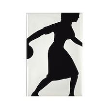 bowling woman Rectangle Magnet