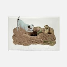 JACK RUSSELL AND PRAIRIE DOG dark Rectangle Magnet