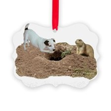 JACK RUSSELL AND PRAIRIE DOG dark Ornament