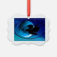 Wall Peel Raven Oval Ornament