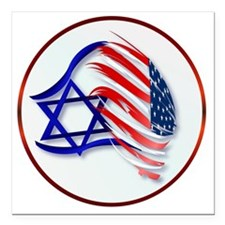 "Stand With Isreal Circle Square Car Magnet 3"" x 3"""