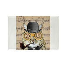 Victorian Steampunk Cat Derby Hat Pipe Collage Mag