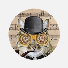 Victorian Steampunk Cat Derby Hat Pipe Collage 3.5