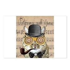 Victorian Steampunk Cat Derby Hat Pipe Collage Pos