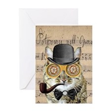 Victorian Steampunk Cat Derby Hat Pipe Collage Gre
