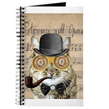 Victorian Steampunk Cat Derby Hat Pipe Collage Jou